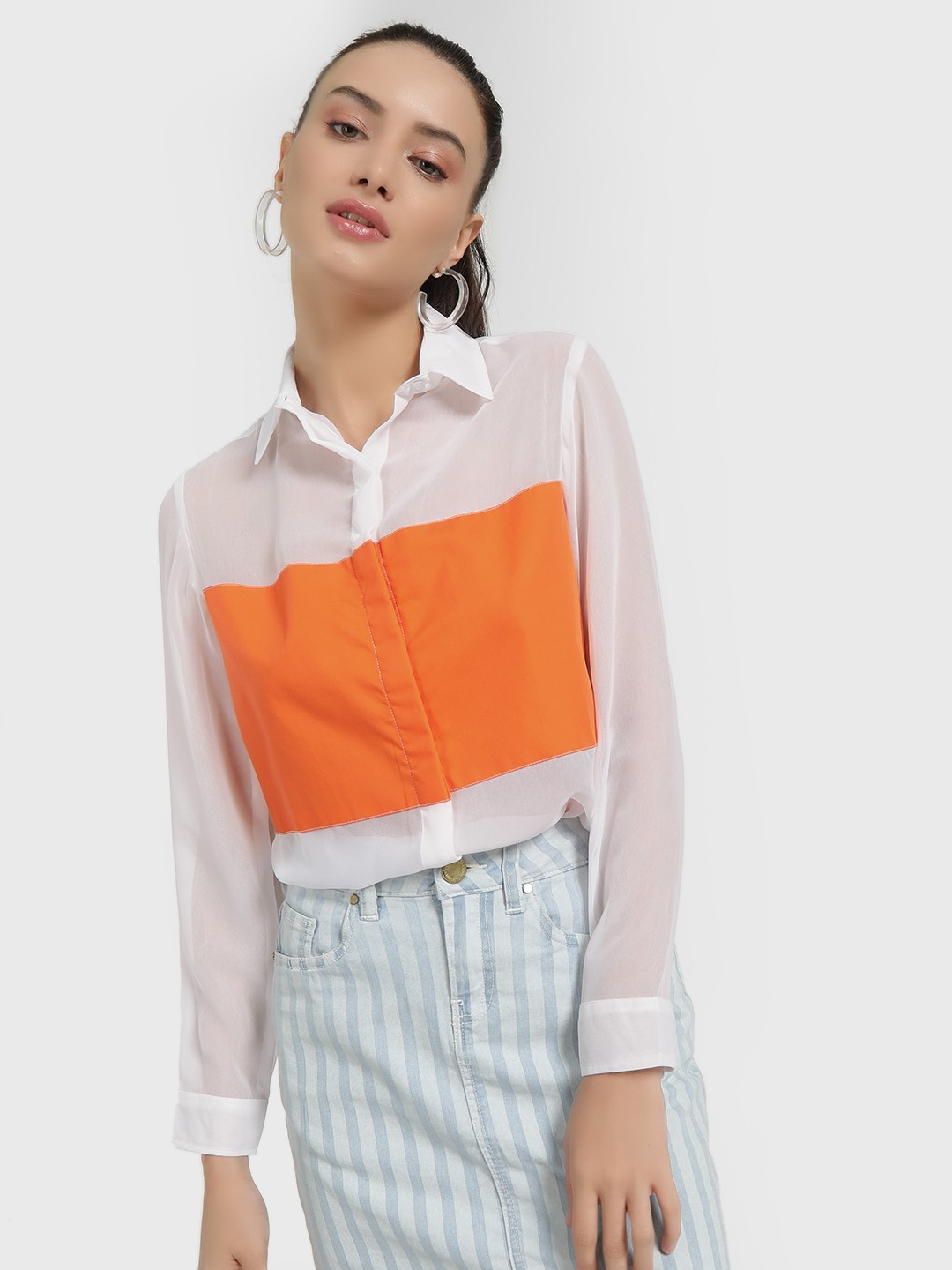 Spring Break White Colour Block Mesh Shirt 1