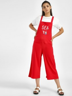 Spring Break Sea Ya Print Dungarees