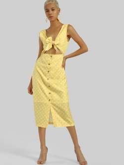 KOOVS Knot-Front Polka Midi Dress