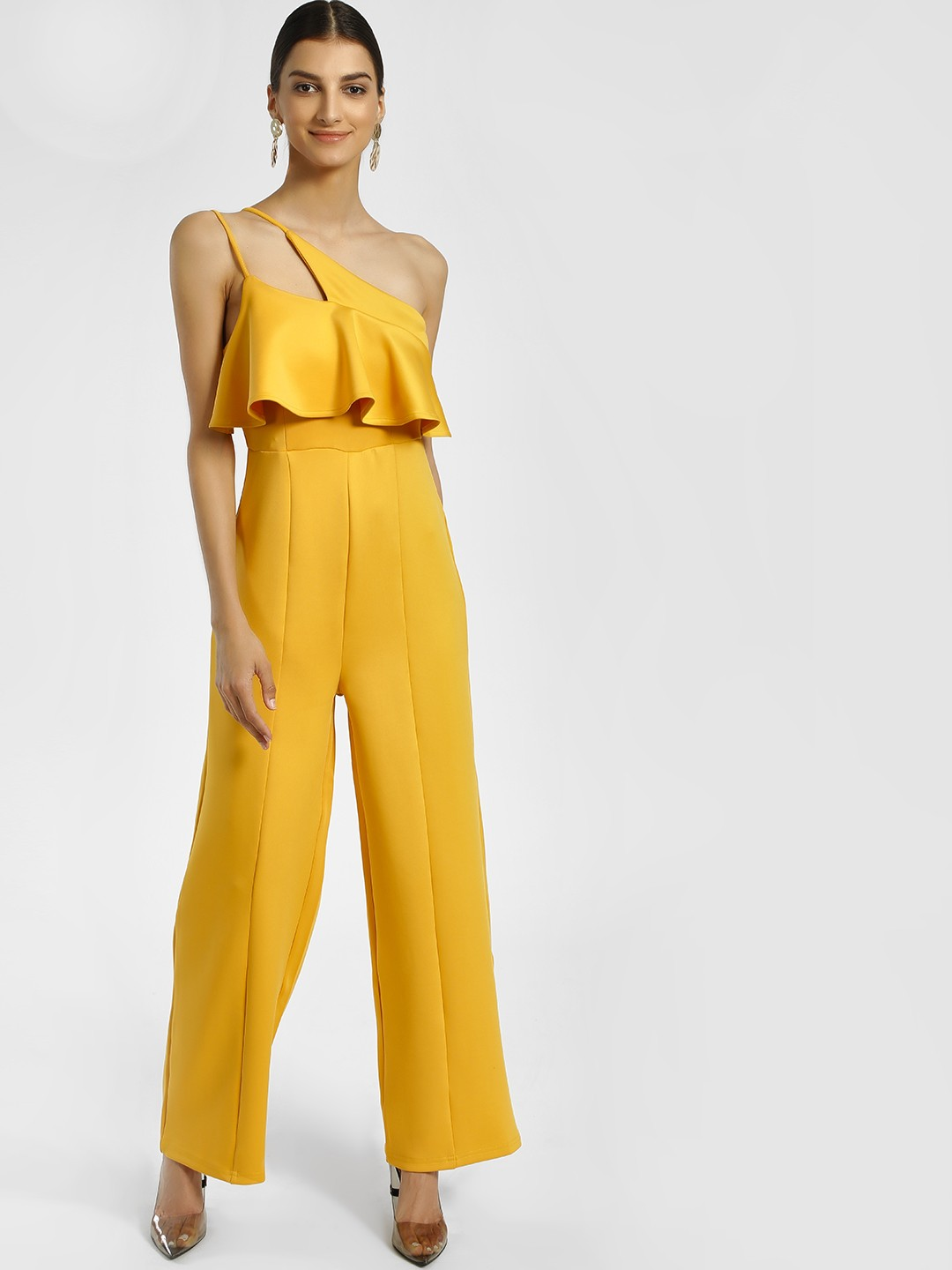 KOOVS Yellow Asymmetric Neck Sleeveless Jumpsuit 1