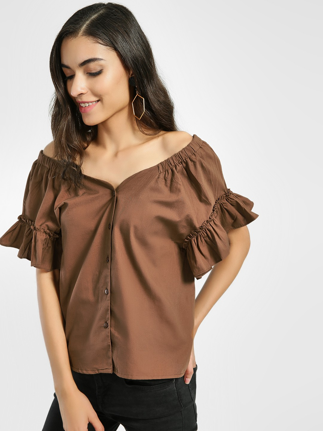 Origami Lily Brown Frill Sleeve Bandeau Top 1