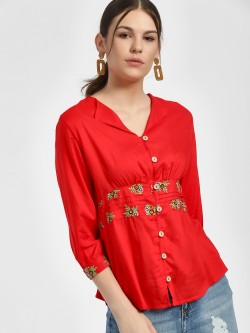 Rena Love Button Down Embroidered Blouse