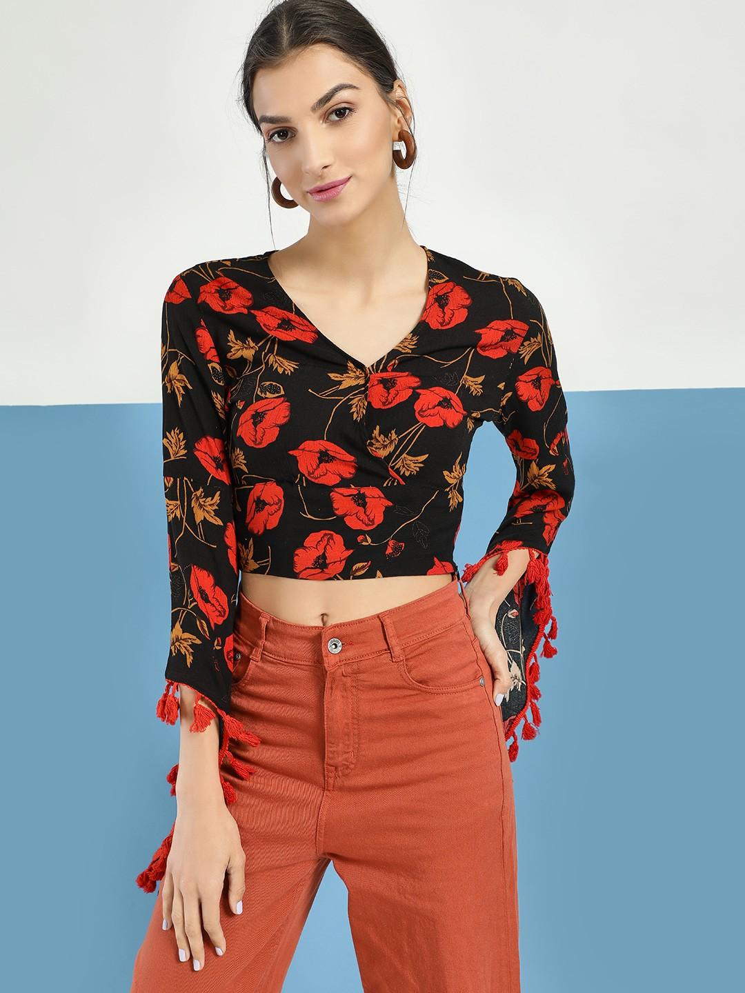 Rena Love Multi Floral Print Tassel Detail Crop Top 1