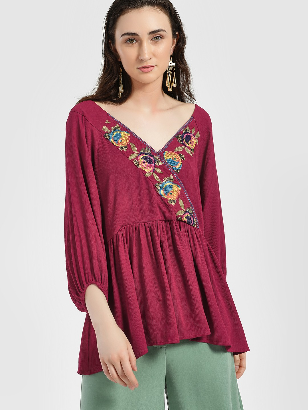 Rena Love Maroon Cross Stitch Embroidered Flared Blouse 1