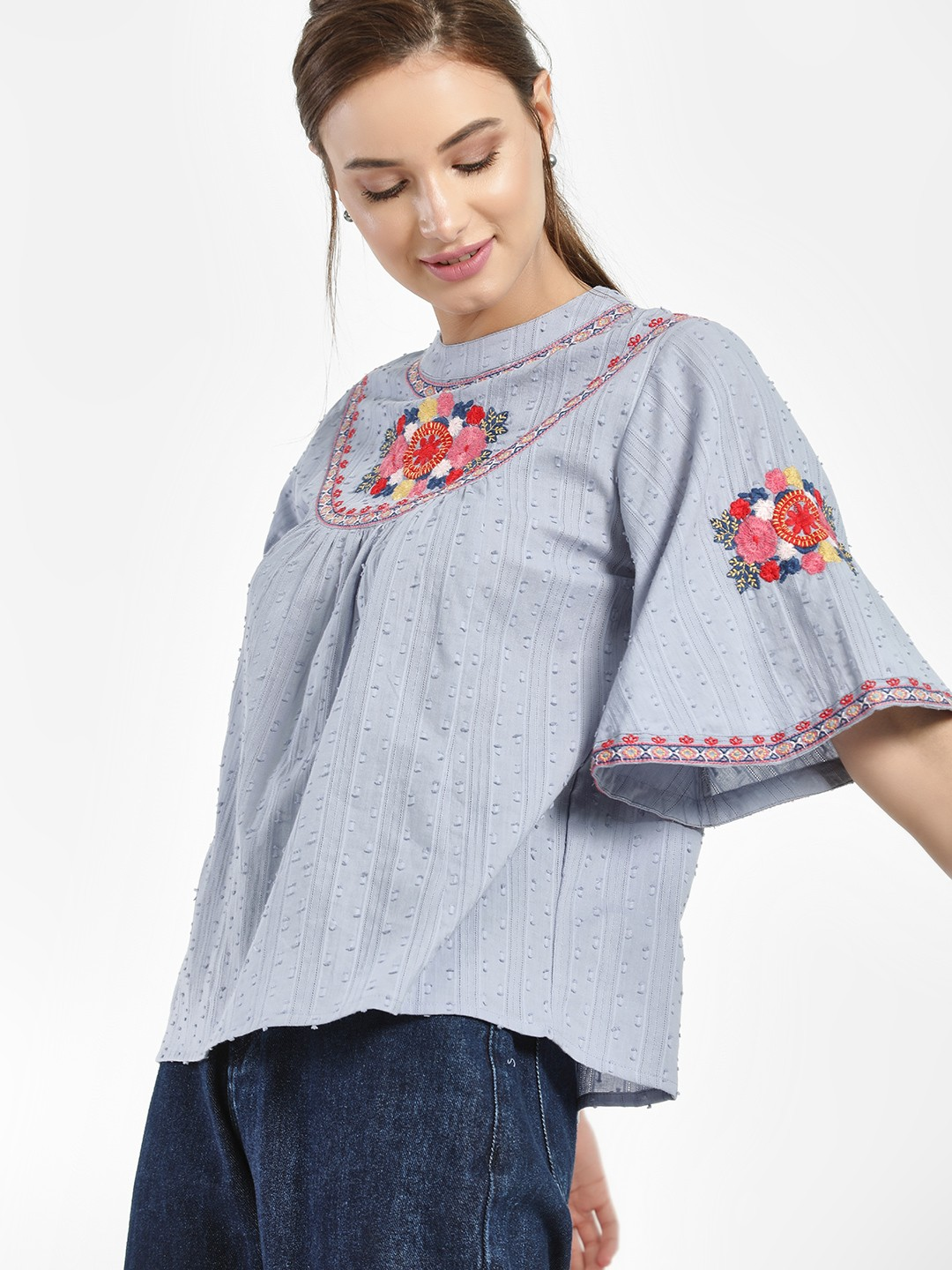 Rena Love Blue Floral Embroidered Dobby Blouse 1