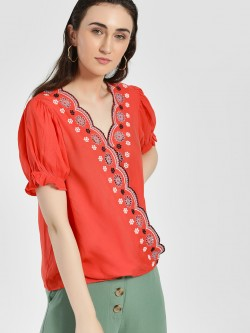 Rena Love Broderie Scalloped Edge Wrap Blouse