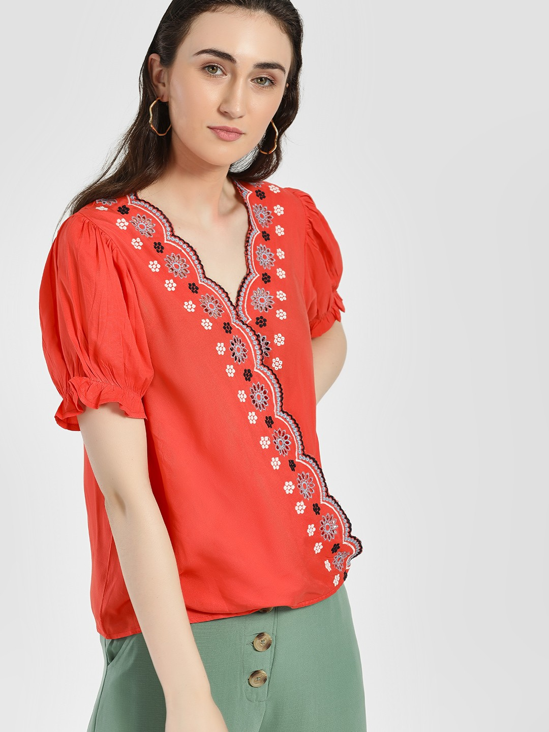 Rena Love Coral Broderie Scalloped Edge Wrap Blouse 1