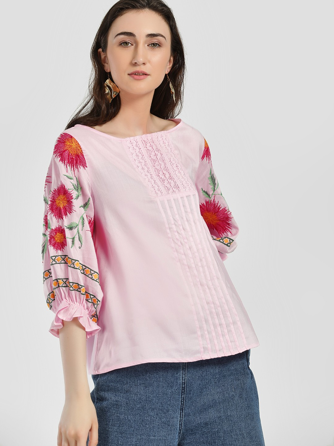 Rena Love Pink Floral Embroidered Volume Sleeve Blouse 1