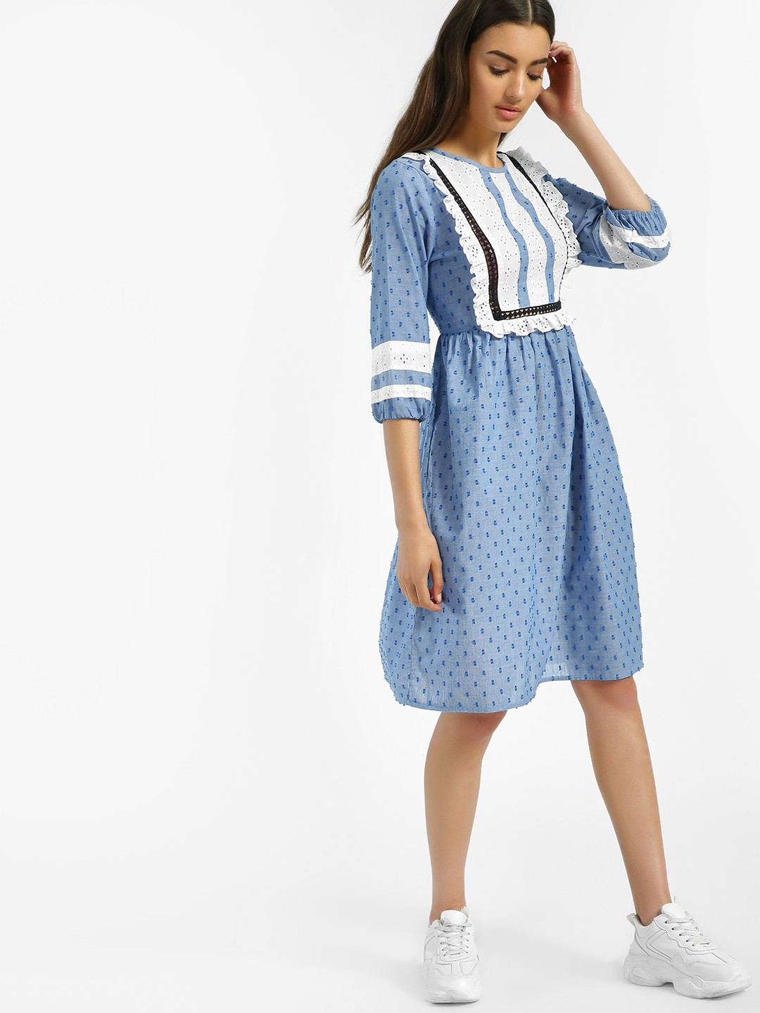 Rena Love Blue Dobby Broderie Yoke Shift Dress 1