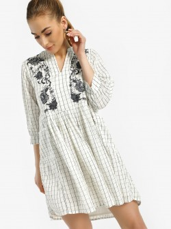 Rena Love Grid Check Yoke Embroidered Shift Dress