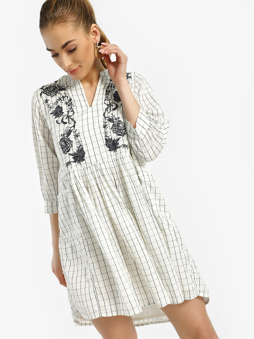 Rena Love White Grid Check Yoke Embroidered Shift Dress 1