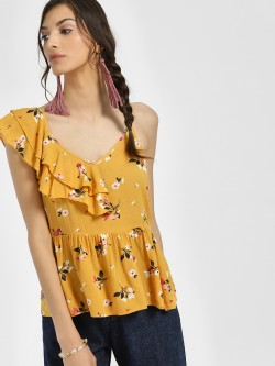 Rena Love Floral Print One Shoulder Blouse