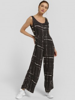 Femella Abstract Stripe Print Sleeveless Jumpsuit