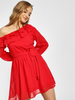 Femella One Shoulder Frill Detail Shift Dress