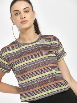 KOOVS Mixed Slogan Print Cropped T-Shirt
