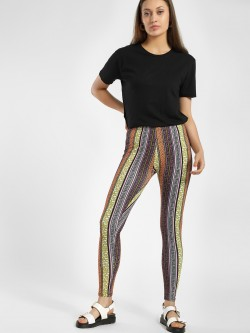 KOOVS Mix Print Stripe Leggings