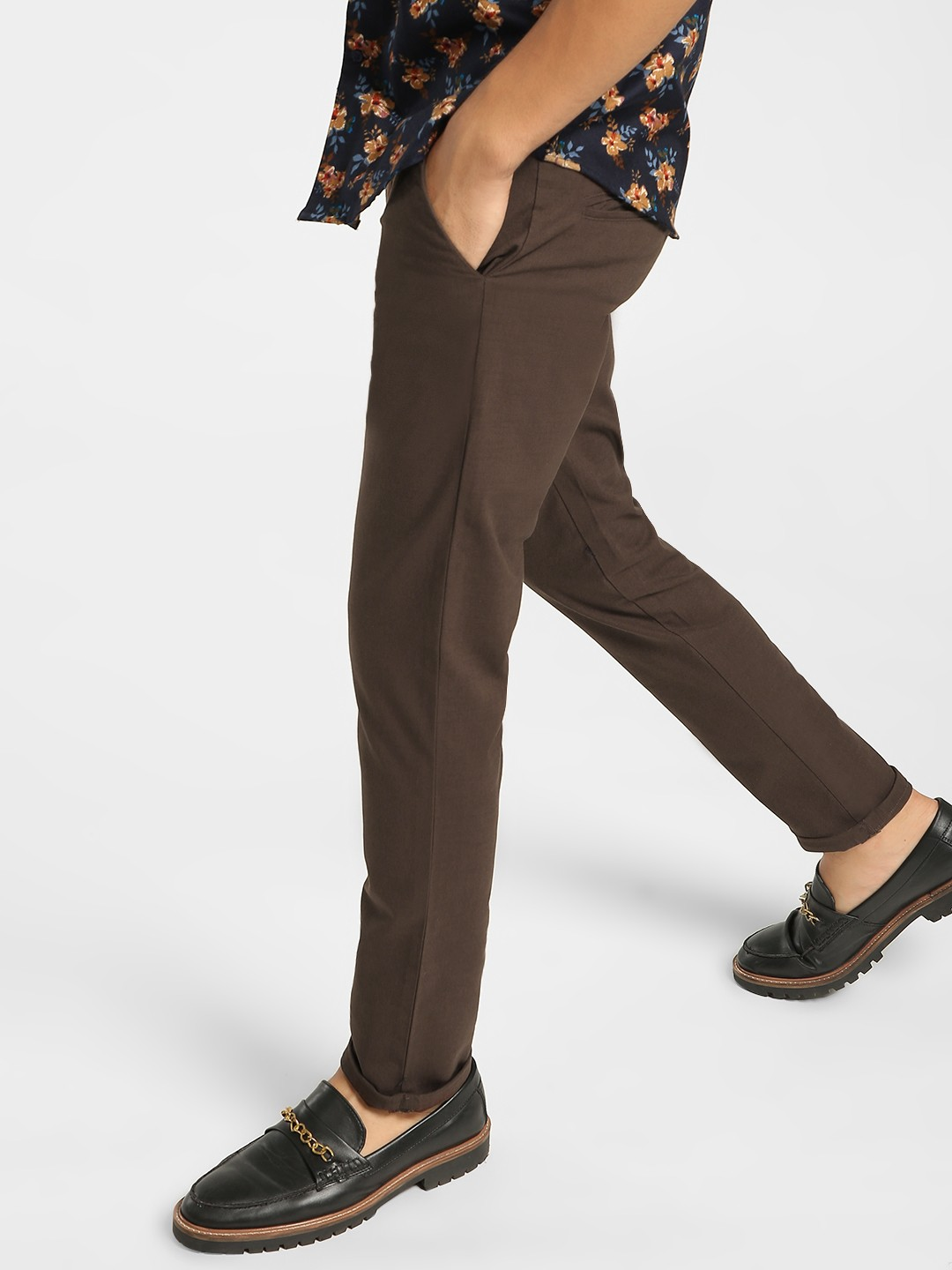 Mr Button Brown Drawcord Slim Trousers 1