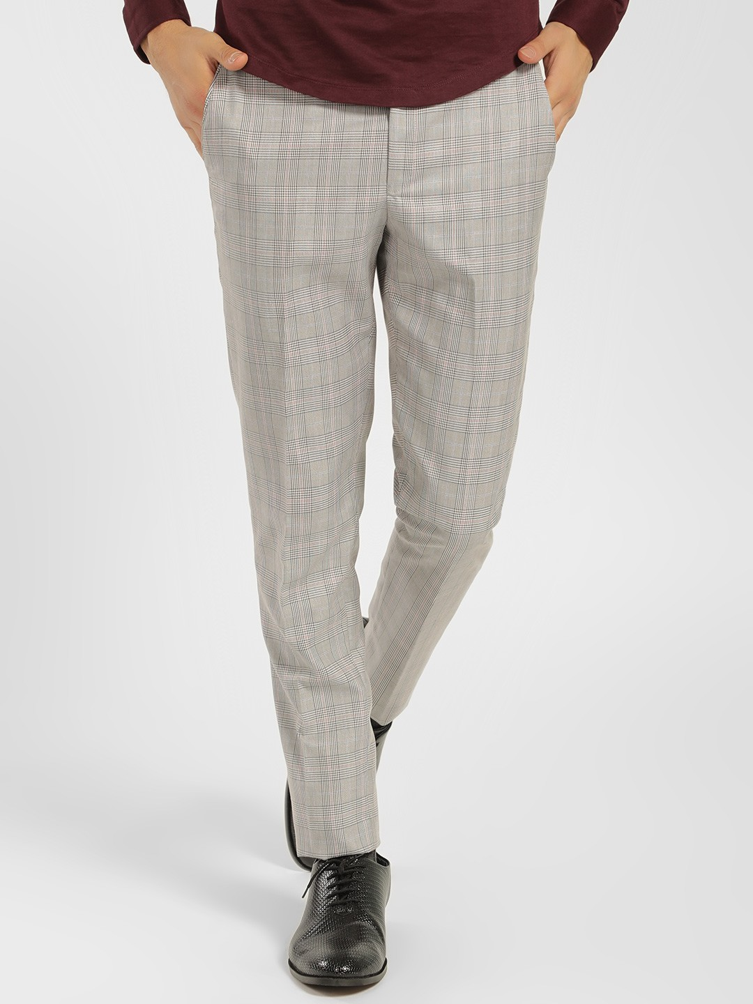 Mr Button Grey Houndstooth Check Slim Trousers 1