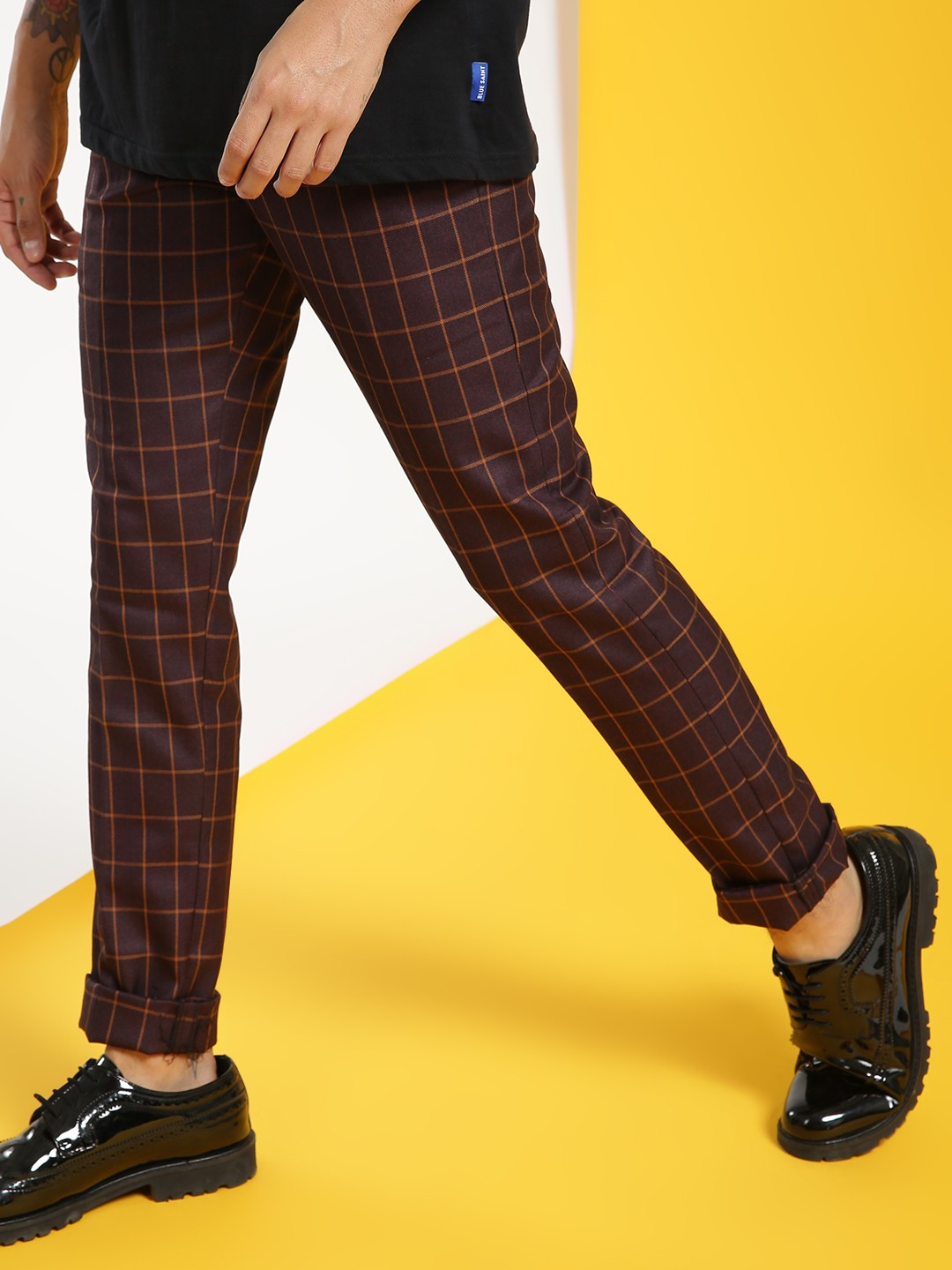 Mr Button Purple Windowpane Check Slim Trousers 1