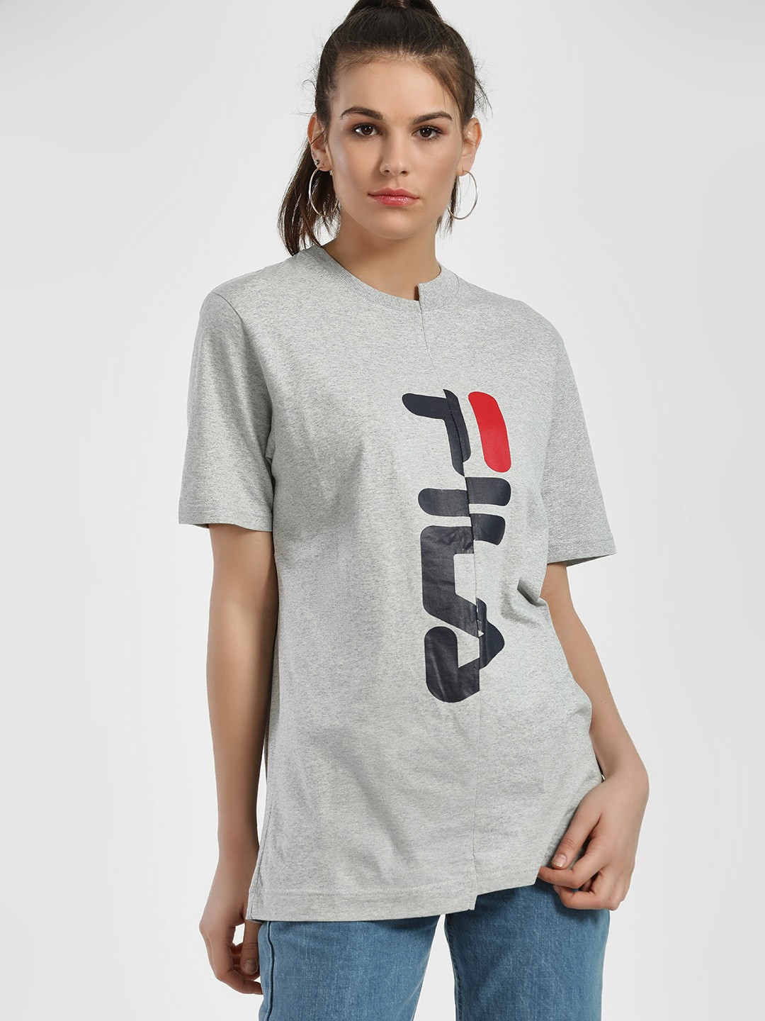 Fila Grey Asymmetric Logo T-Shirt 1