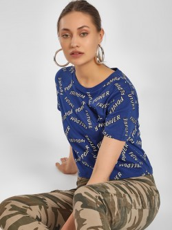 KOOVS Text Print Crop T-Shirt