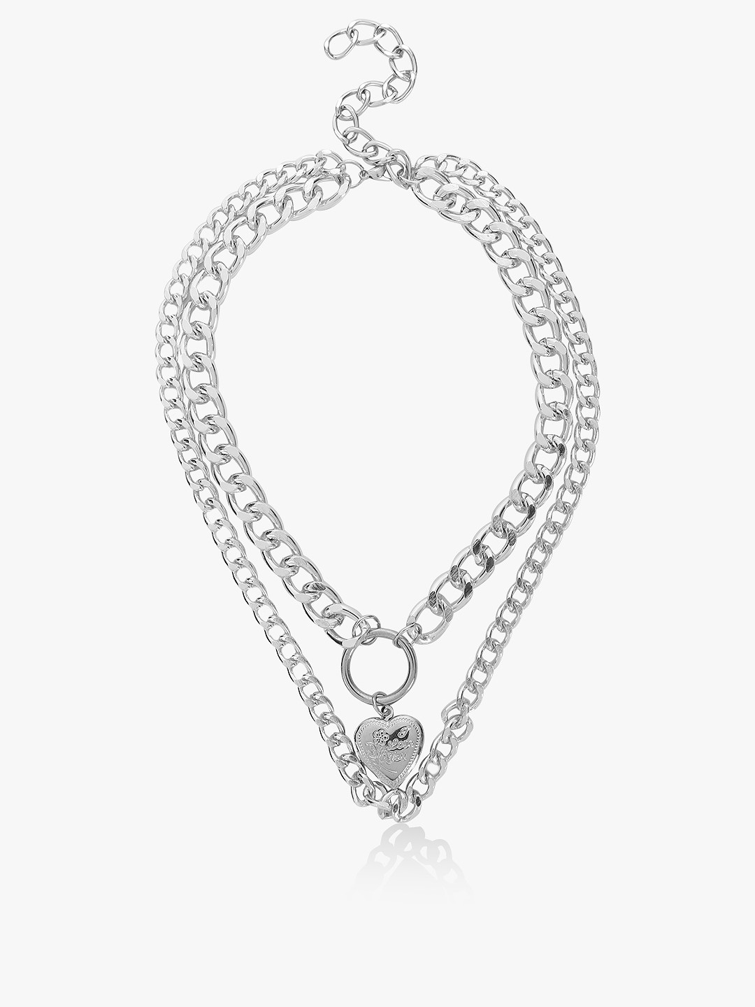 Style Fiesta Silver Heart Detail Dual Chain Necklace 1