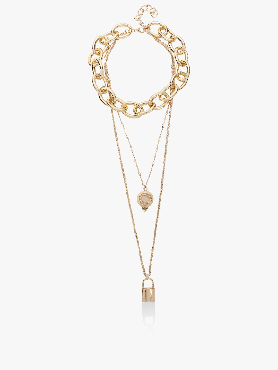 Style Fiesta Gold Layered Pendant Chain Necklace 1