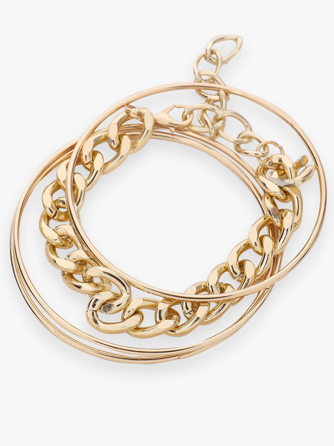 Style Fiesta Gold Chain And Bangle Set (Pack Of 4) 1