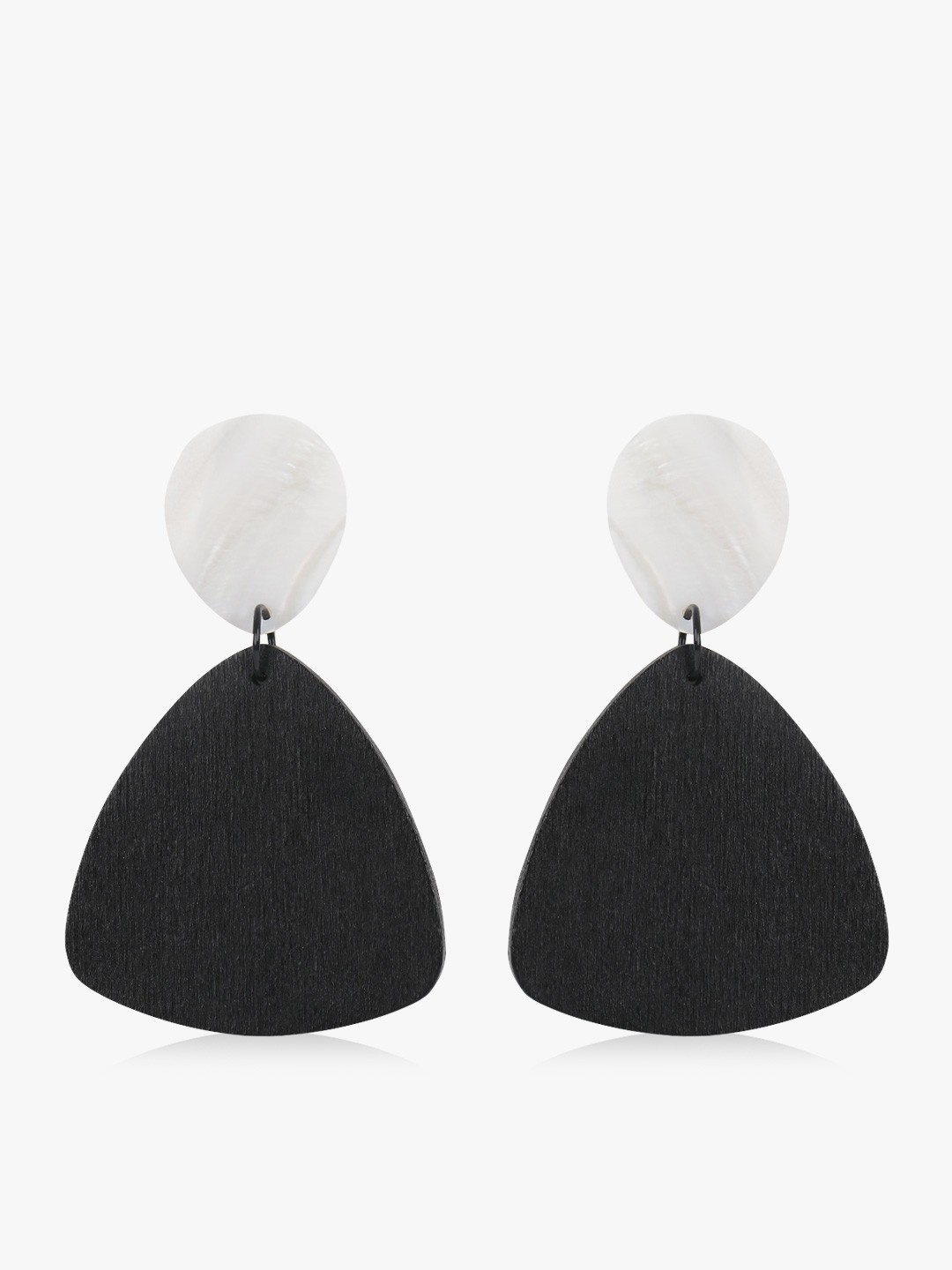 Style Fiesta Black Colour Block Geometric Earrings 1
