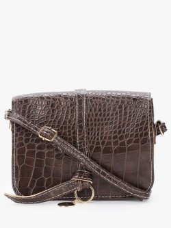Style Fiesta Crocskin Structured Sling Bag
