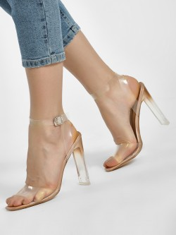 Truffle Collection Clear Strap Metallic Heeled Sandals