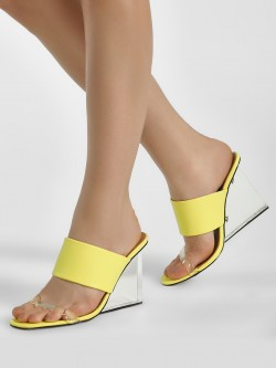 Truffle Collection Clear Heel Double Strap Wedges