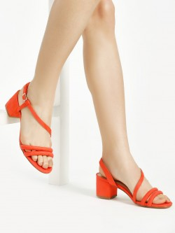Truffle Collection Suede Double Strap Block Heeled Sandals