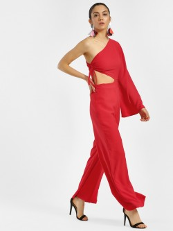 KOOVS One Shoulder Side Cut-Out Jumpsuit