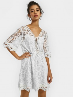 KOOVS Embroidered Mesh Skater Dress