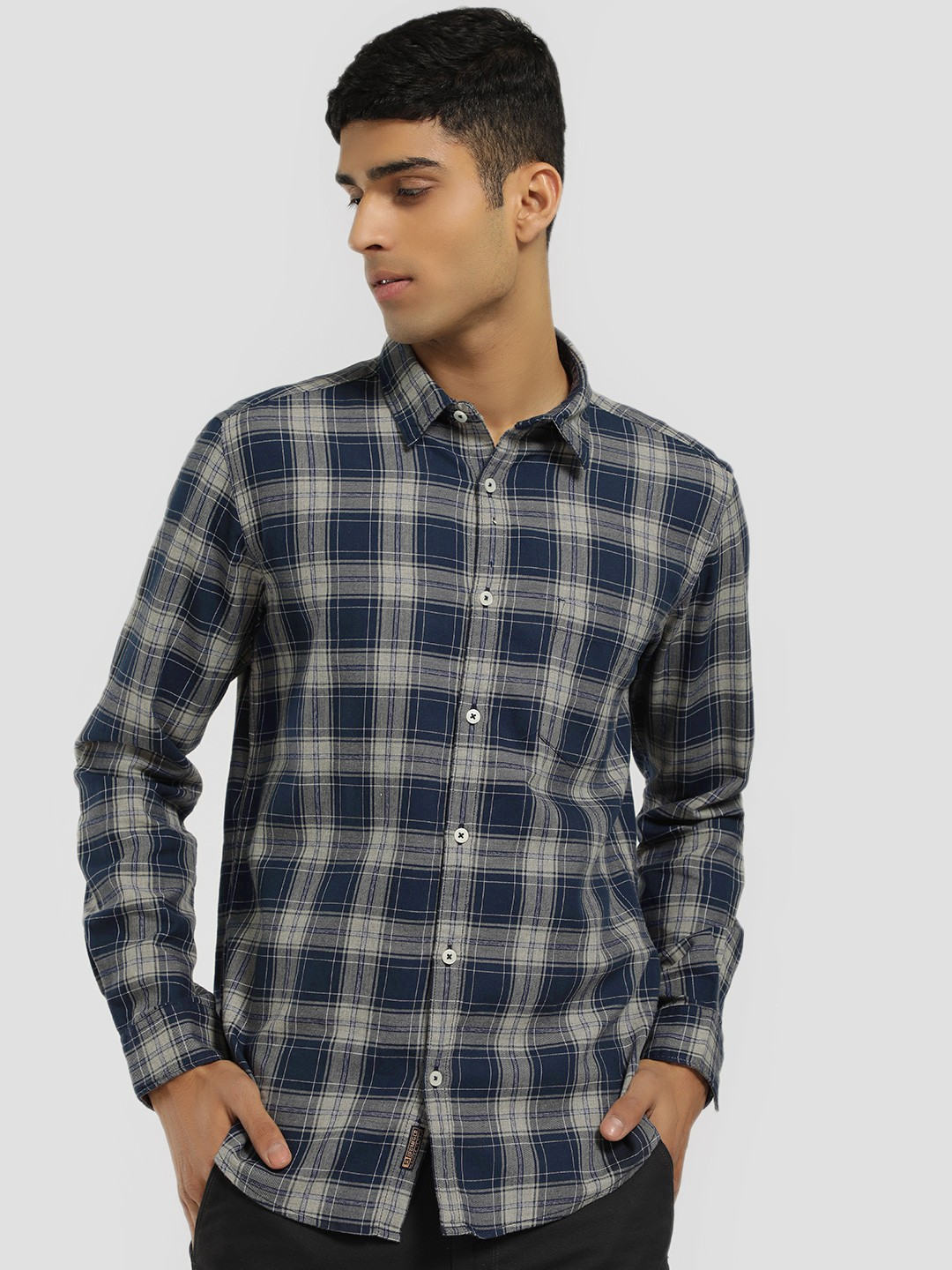 Buffalo Blue Long Sleeve Multi-Check Shirt 1