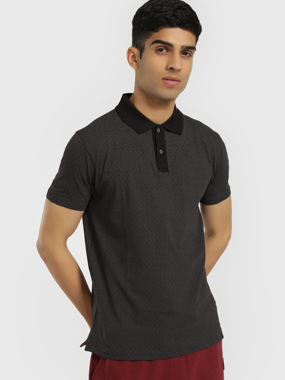 Buffalo Black Microprint Polo Shirt 1