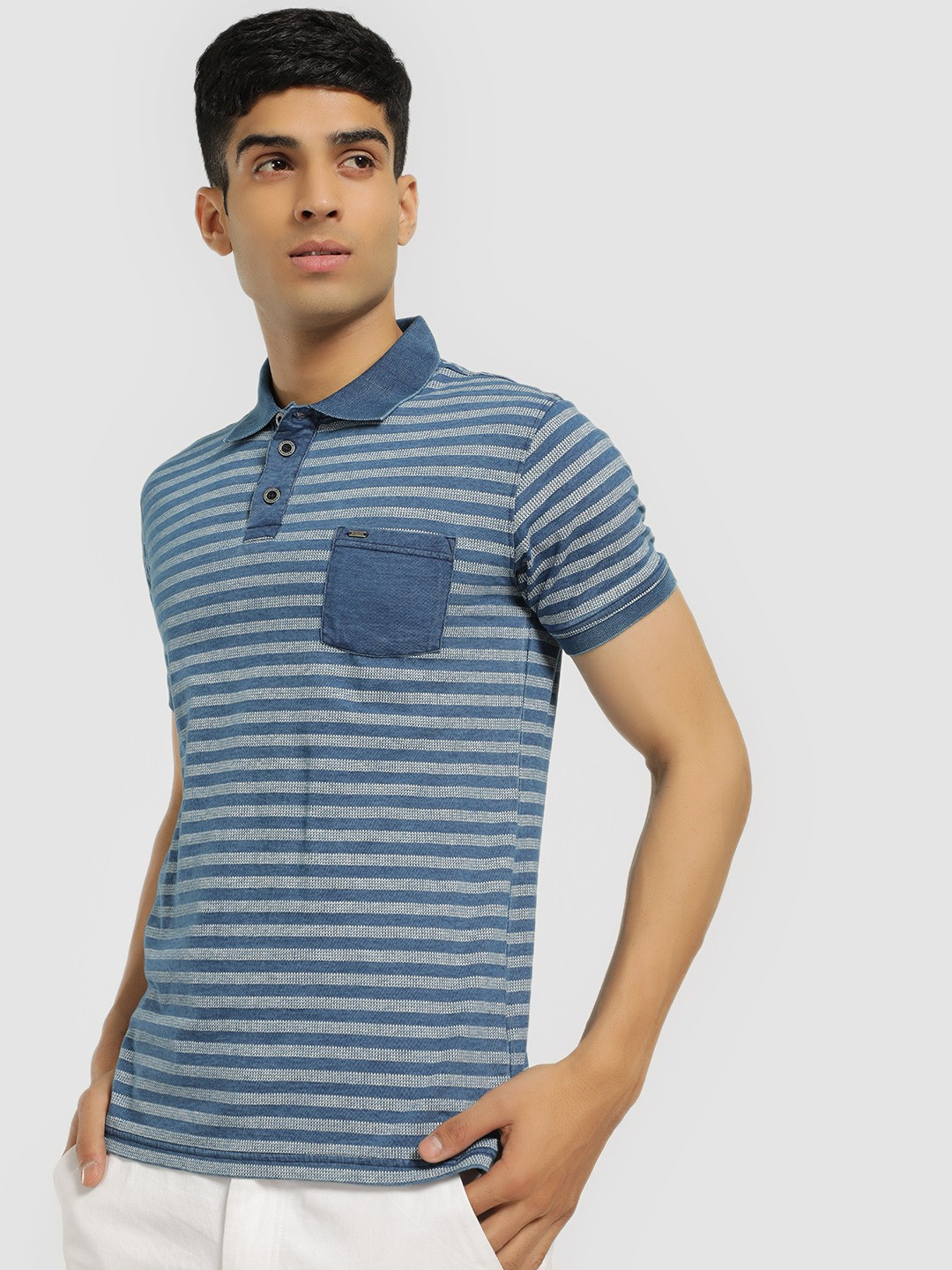 Buffalo Blue Self-Design Striped Polo Shirt 1