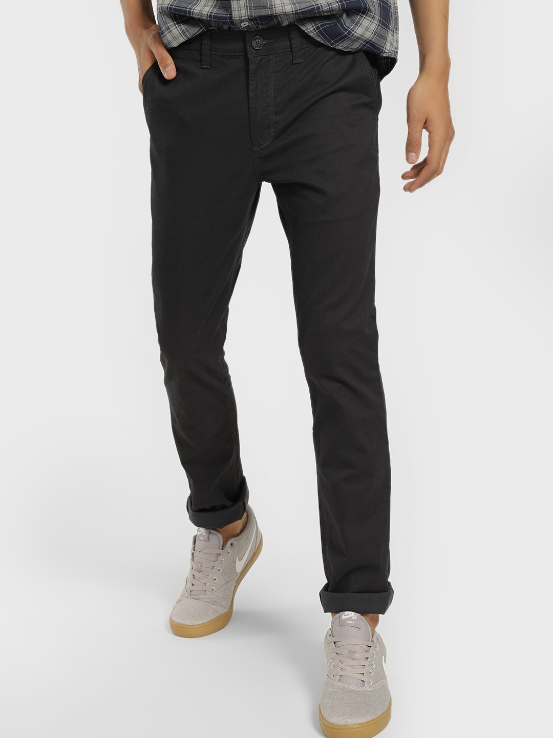 Buffalo Blue Basic Slim Fit Trousers 1