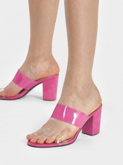 Shoe that fits You Suede Clear Strap Heeled Sandals