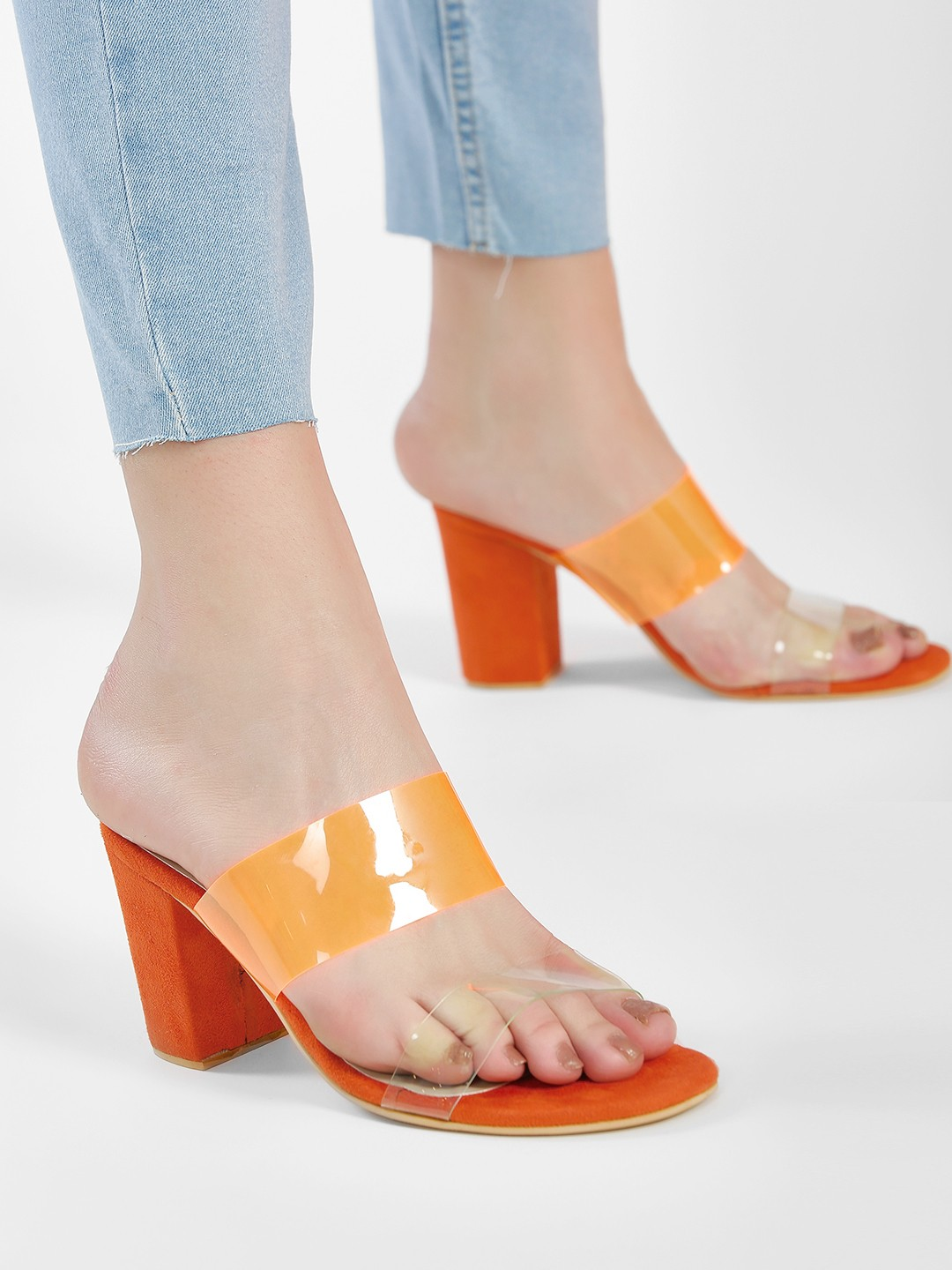 Shoe that fits You Orange Suede Clear Strap Heeled Sandals 1