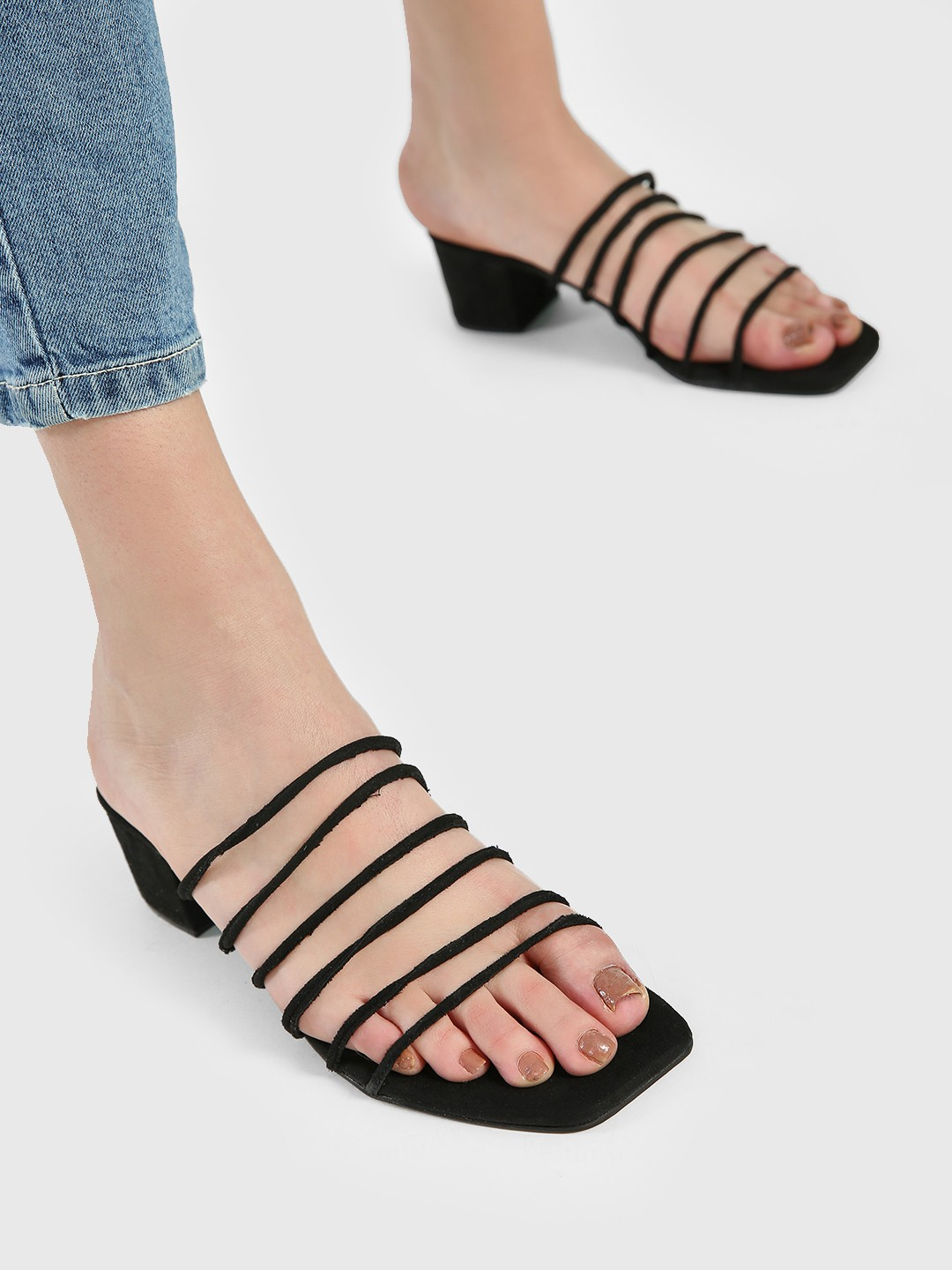 Shoe that fits You Black Suede Multi-Strap Heeled Sandals 1