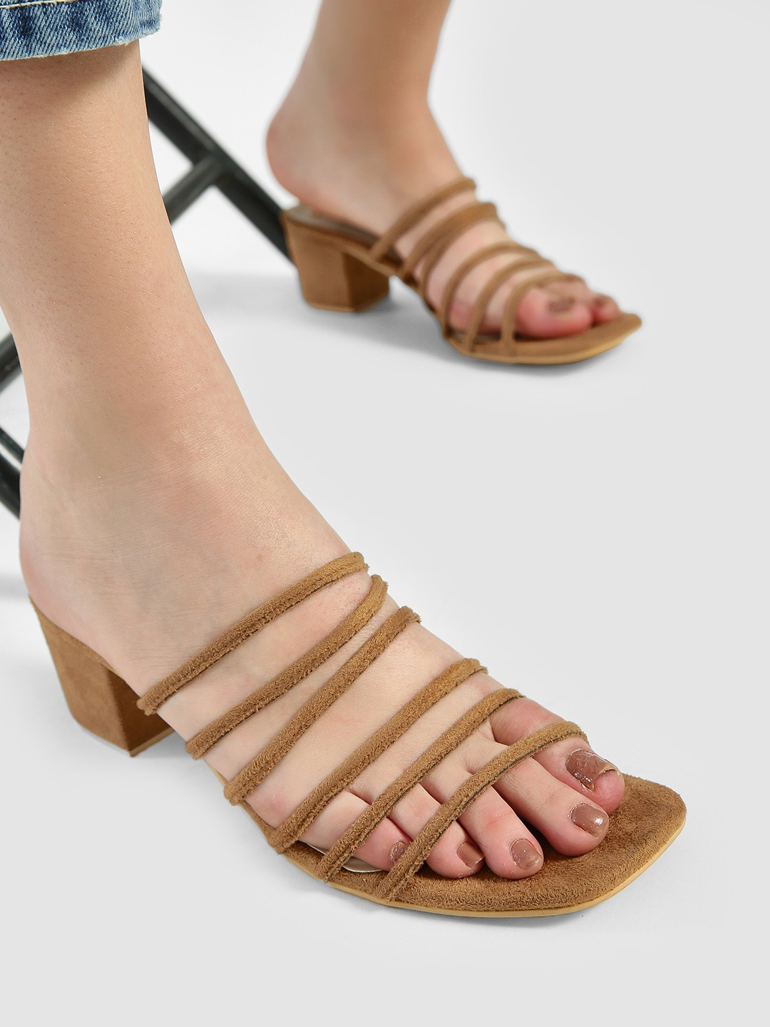 Shoe that fits You Brown Suede Multi-Strap Heeled Sandals 1