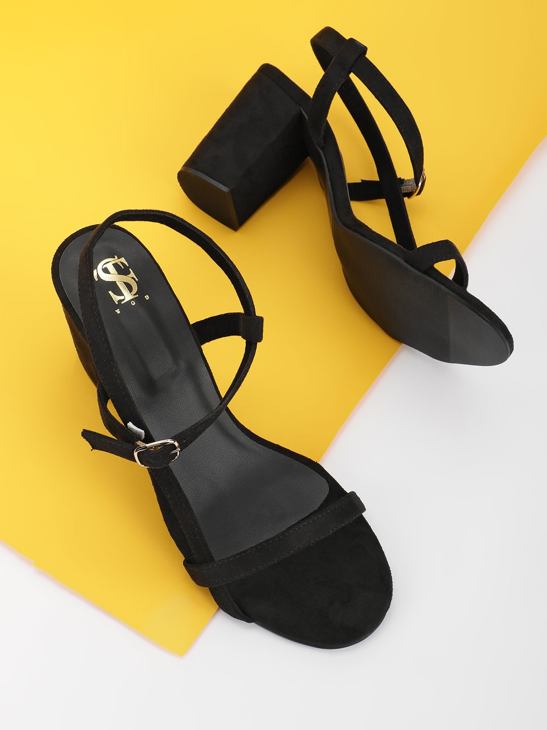 Shoe that fits You Black Twin Strap Heeled Sandals 1