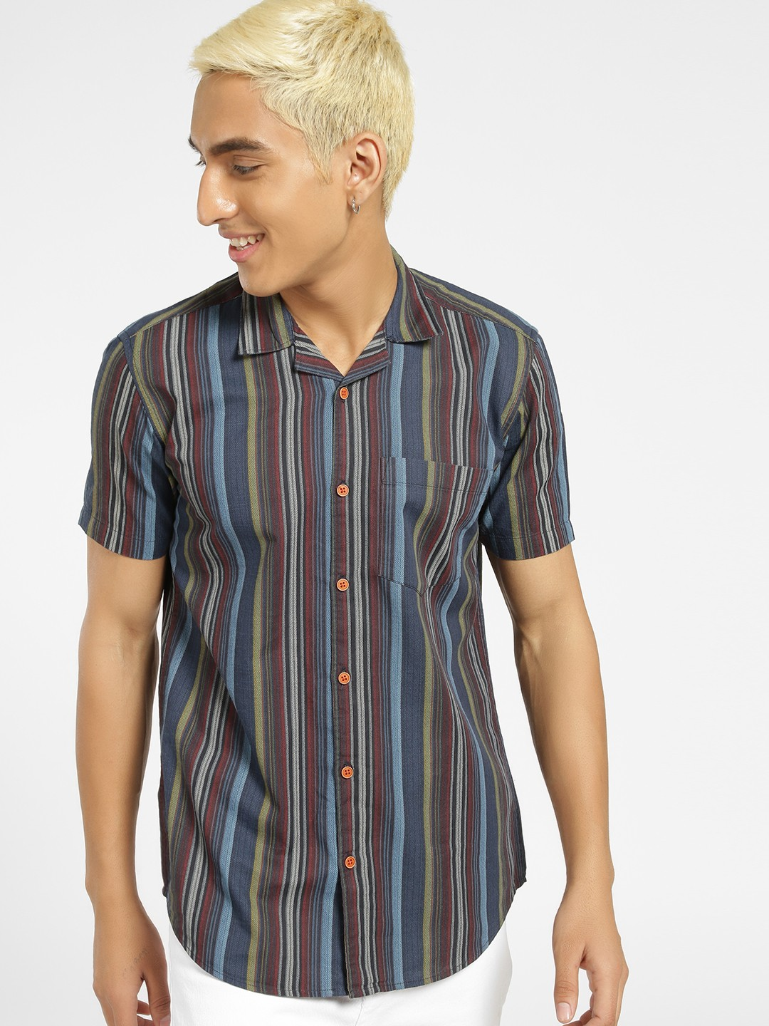AMON Multi Cuban Collar Vertical Stripe Shirt 1