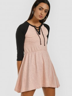 Kultprit Raglan Sleeve Lace-Up Shift Dress