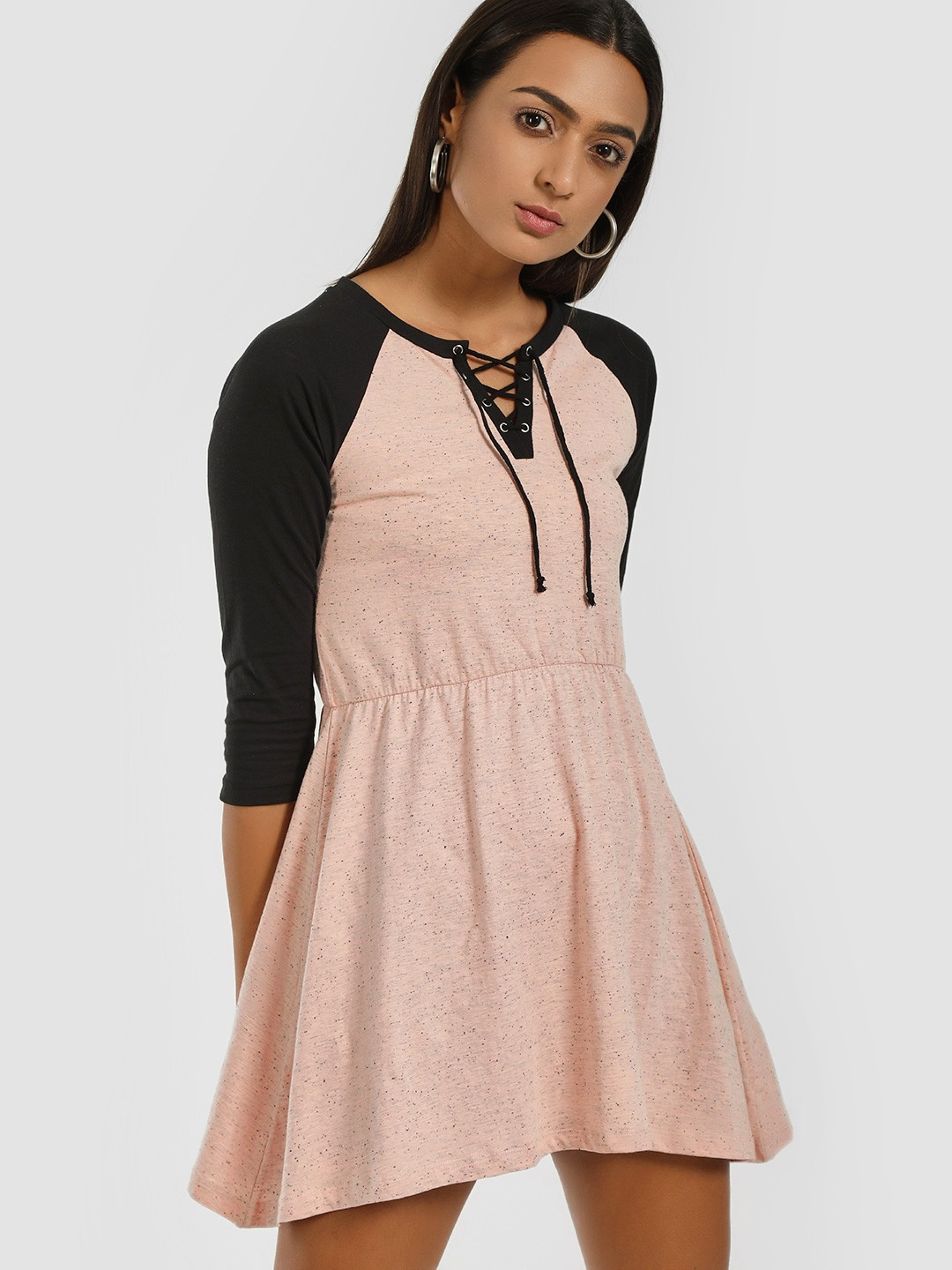 Kultprit Pink Raglan Sleeve Lace-Up Shift Dress 1