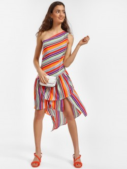 Beyond Clouds Multi Stripe One Shoulder Shift Dress