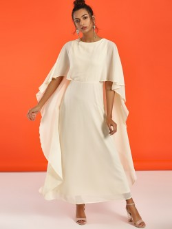Femella Overlay Cape Maxi Dress