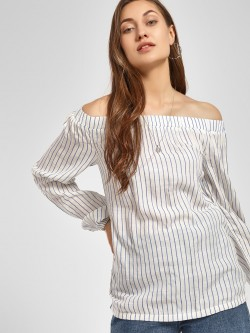 PostFold Vertical Stripe Off-Shoulder Blouse